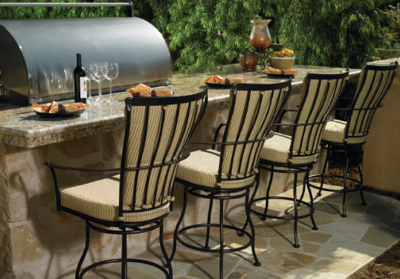 Outdoor Dining with bar stools, high top tables and more. Patio Dining with a dash of good taste.